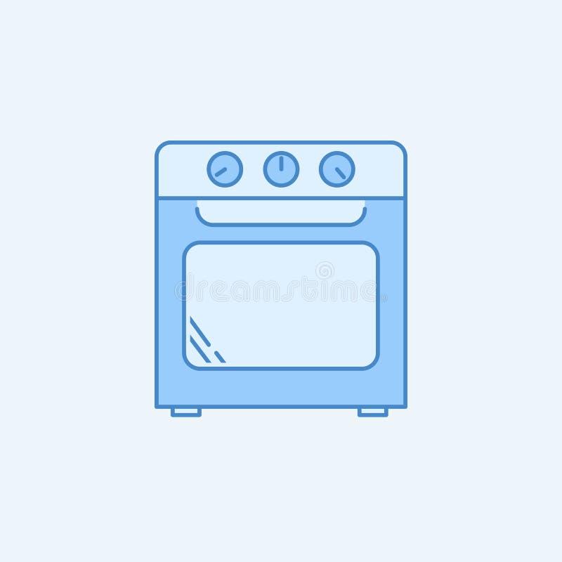 Línea coloreada icono del horno 2 Ejemplo azul y blanco simple del elemento Diseño del símbolo del esquema del concepto del horno stock de ilustración