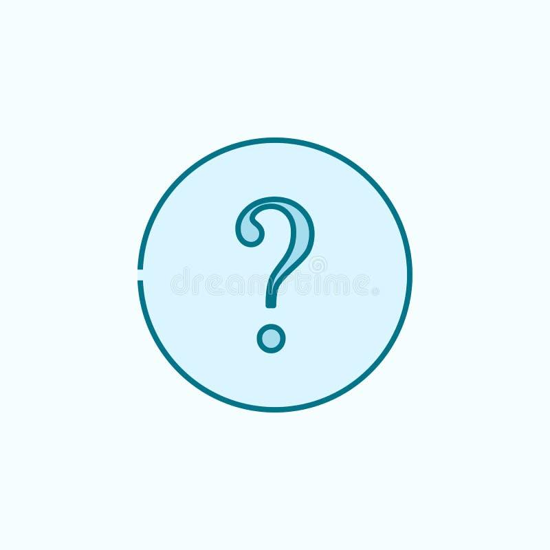 línea coloreada icono del signo de interrogación 2 Ejemplo simple del elemento coloreado diseño del símbolo del esquema del signo stock de ilustración