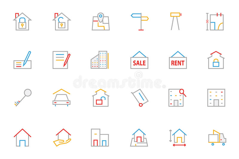 Línea coloreada iconos 2 de Real Estate libre illustration