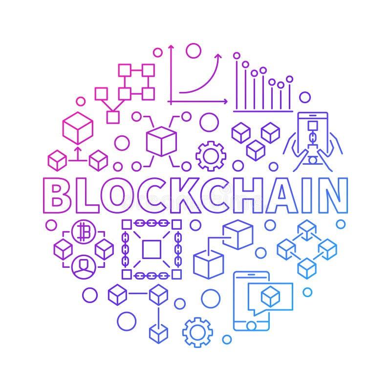 Línea colorida ejemplo redondo de la tecnología de Blockchain del vector ilustración del vector