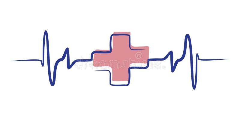 Línea colorida icono de la salud del arte para los apps y los sitios web médicos ilustración del vector