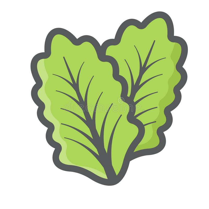 Línea colorida icono, hoja vegetal de la lechuga de la ensalada libre illustration