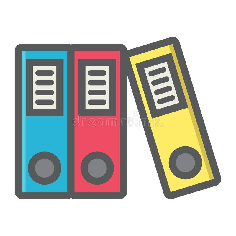 Línea colorida icono, negocio y carpeta de las carpetas stock de ilustración