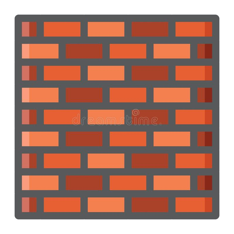 Línea colorida icono, seguridad y estructura de la pared de ladrillo libre illustration