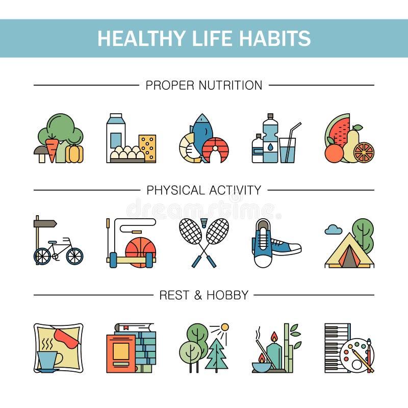 Línea colorida iconos de los hábitos sanos de la forma de vida del vector Mariscos apropiados del agua de las legumbres de fruta  ilustración del vector