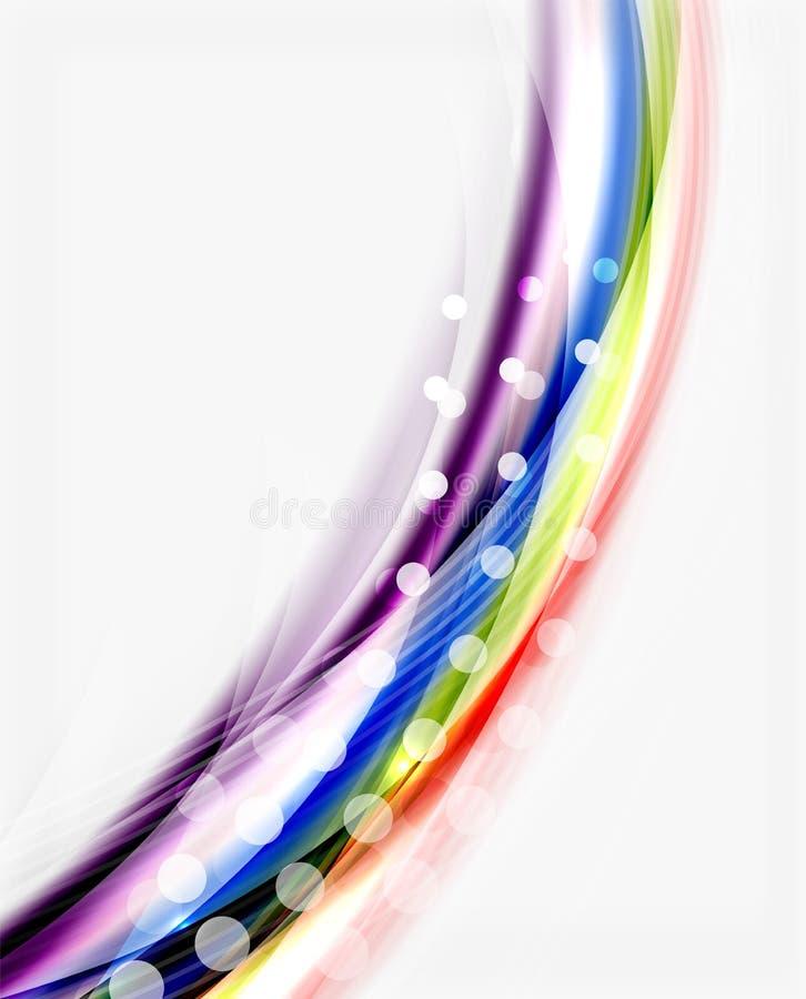 Línea colorida lisa en blanco Fondo abstracto de la onda ilustración del vector
