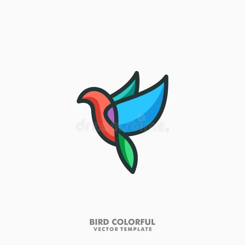 Línea colorida plantilla del pájaro del vector del ejemplo del concepto del arte stock de ilustración