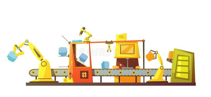 Línea común automática bandera retra de la historieta stock de ilustración