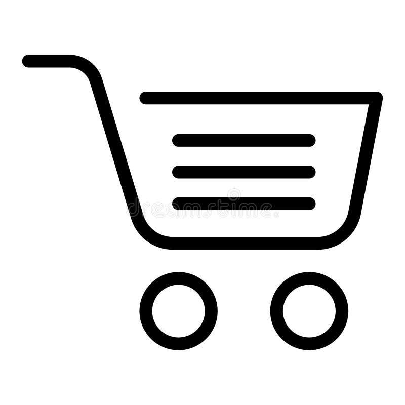 Línea completa icono del carro de la compra Ejemplo del vector de la cesta de la compra aislado en blanco Diseño del estilo del e ilustración del vector