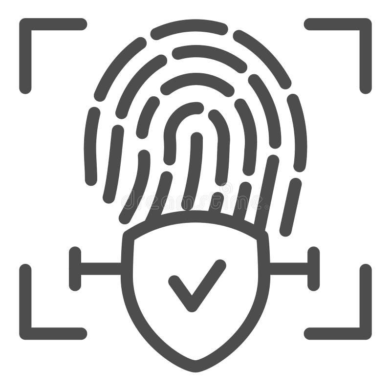 Línea comprobada icono de la huella dactilar La identificación del finger aprobó el ejemplo del vector aislado en blanco Comprueb ilustración del vector