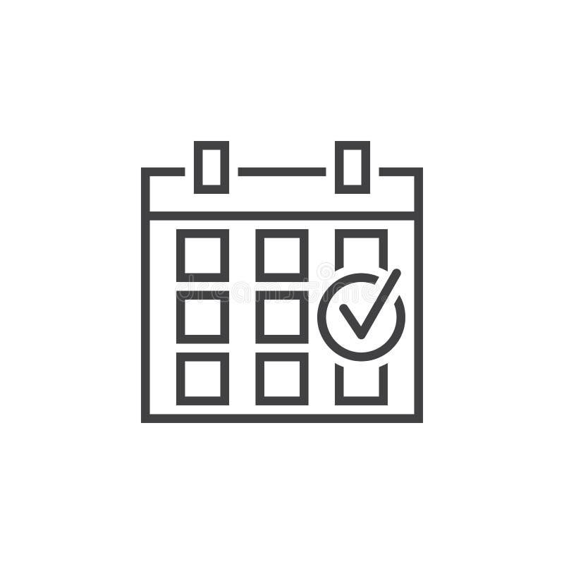 Línea comprobada icono, logotipo del esquema del evento, pi linear del calendario stock de ilustración