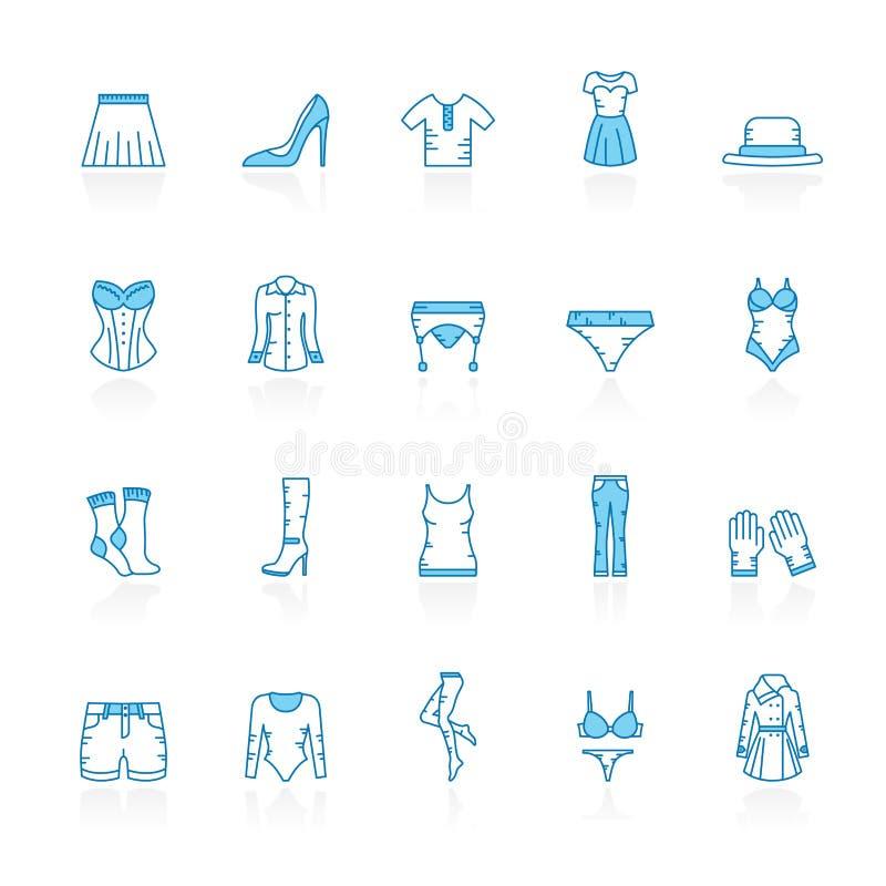 Línea con los iconos azules de la ropa de la mujer del fondo stock de ilustración