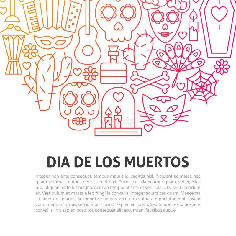 Línea concepto de Dia De los Muertos ilustración del vector