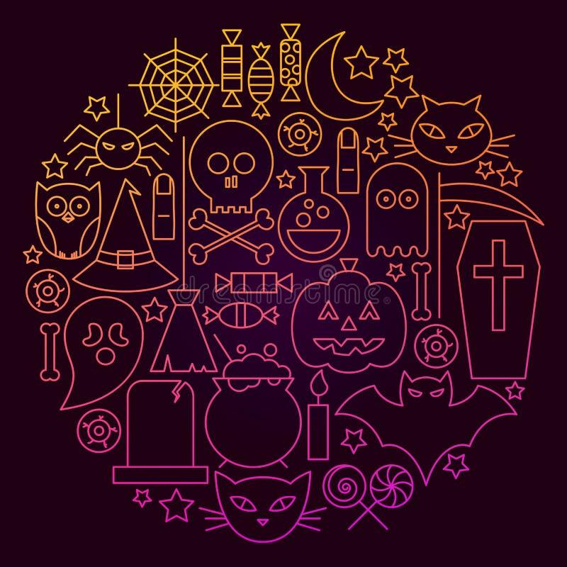 Línea concepto de Halloween del círculo del icono libre illustration