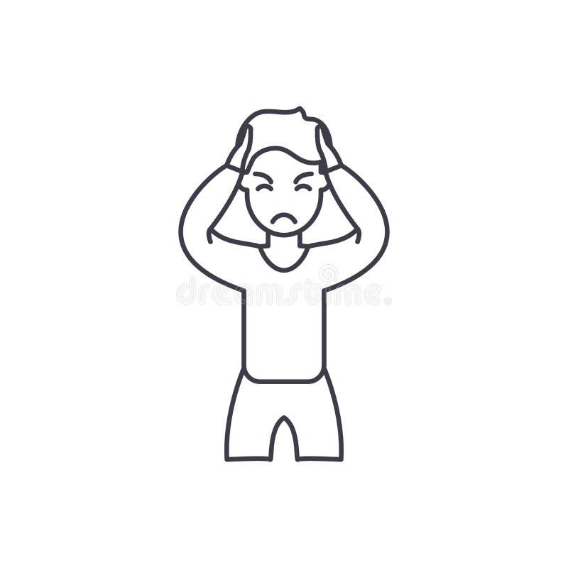 Línea concepto de la ansiedad del icono Ejemplo linear del vector de la ansiedad, símbolo, muestra stock de ilustración