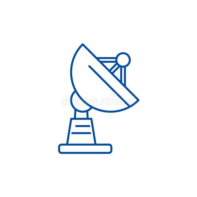 Línea concepto de la antena parabólica del icono Símbolo plano del vector de la antena parabólica, muestra, ejemplo del esquema stock de ilustración