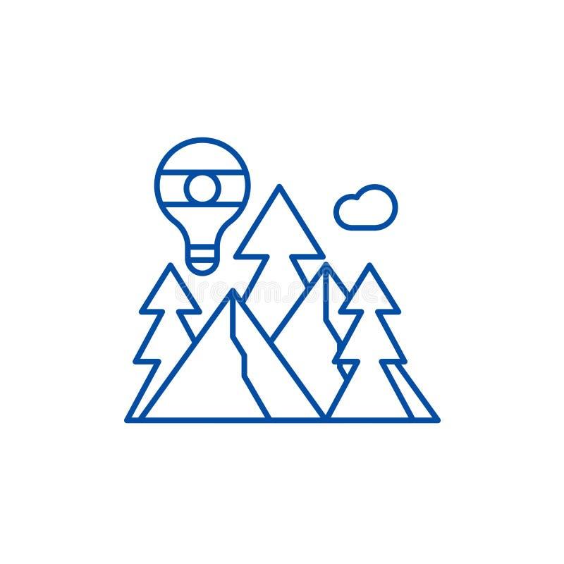 Línea concepto de la aventura del icono Símbolo plano del vector de la aventura, muestra, ejemplo del esquema libre illustration