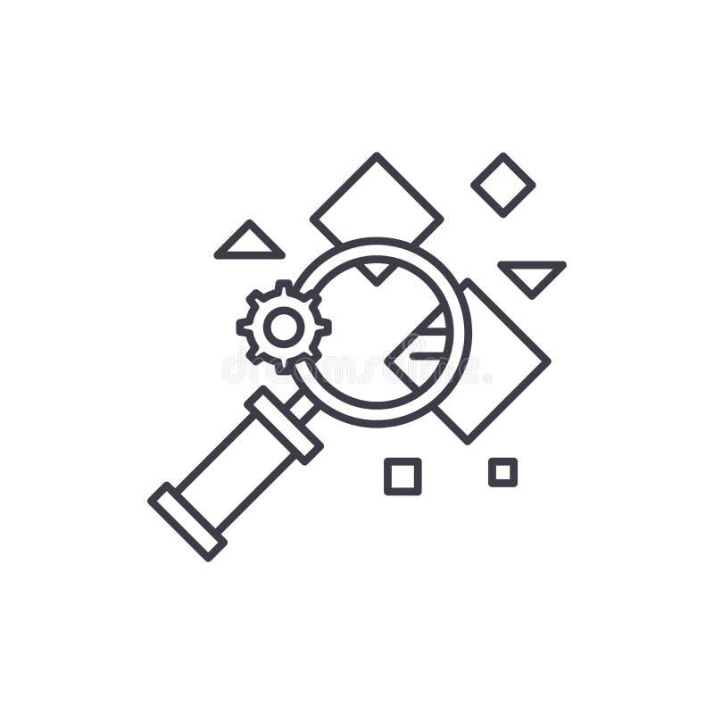 Línea concepto de la búsqueda del hecho del icono Ejemplo linear del vector de la búsqueda del hecho, símbolo, muestra stock de ilustración
