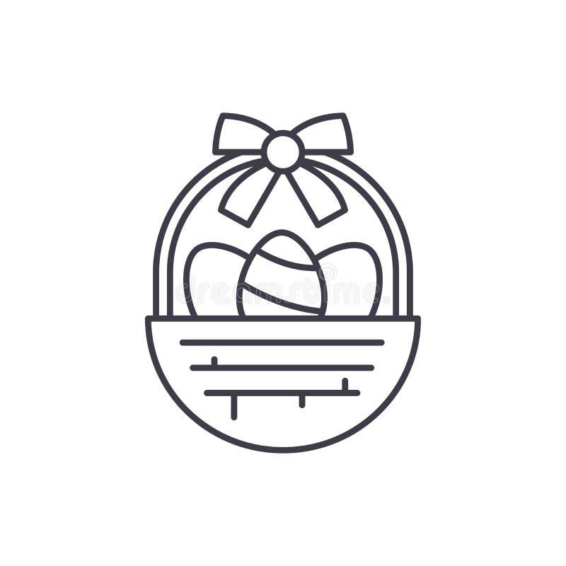 Línea concepto de la cesta de Pascua del icono Ejemplo linear del vector de la cesta de Pascua, símbolo, muestra stock de ilustración