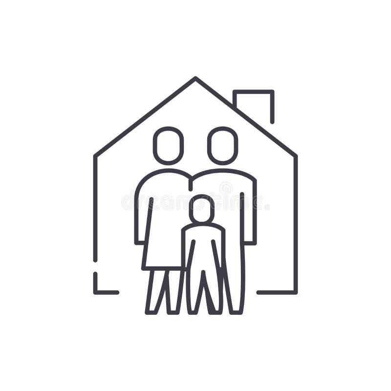 Línea concepto de la comodidad de la familia del icono Ejemplo linear del vector de la comodidad de la familia, símbolo, muestra ilustración del vector