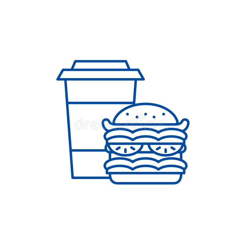 Línea concepto de la hamburguesa y del café del icono Símbolo plano del vector de la hamburguesa y del café, muestra, ejemplo del ilustración del vector