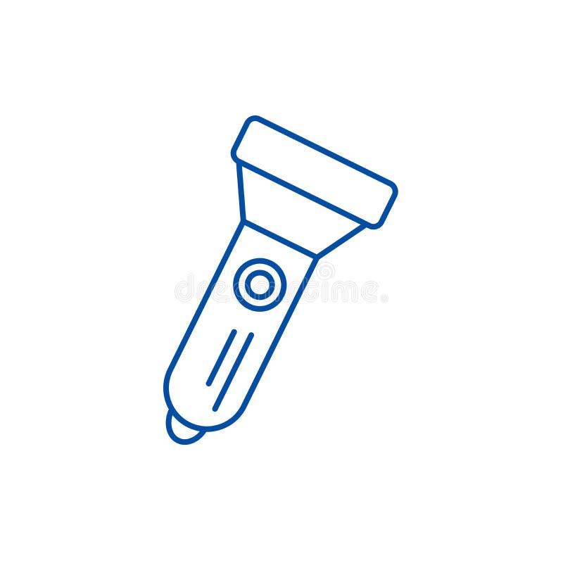 Línea concepto de la linterna del icono Símbolo plano del vector de la linterna, muestra, ejemplo del esquema libre illustration