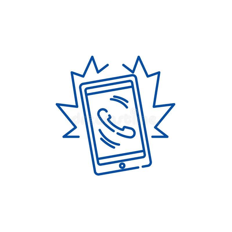 Línea concepto de la llamada de teléfono del icono Símbolo plano del vector de la llamada de teléfono, muestra, ejemplo del esque libre illustration