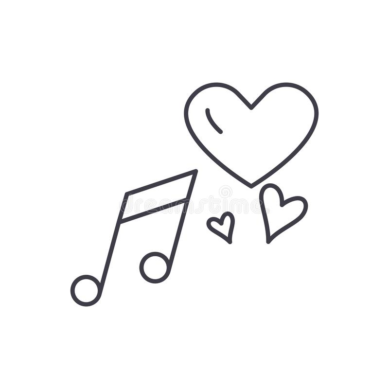 Línea concepto de la música del amor del icono Ejemplo linear del vector de la música del amor, símbolo, muestra libre illustration
