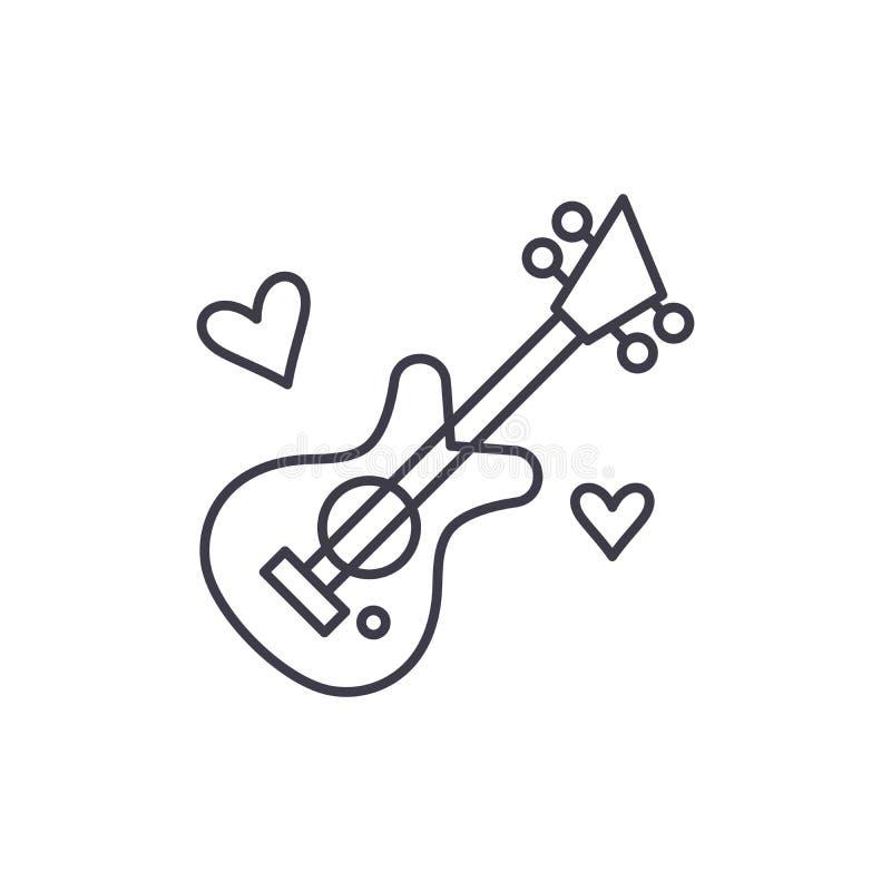 Línea concepto de la música de la guitarra del icono Ejemplo linear del vector de la música de la guitarra, símbolo, muestra stock de ilustración
