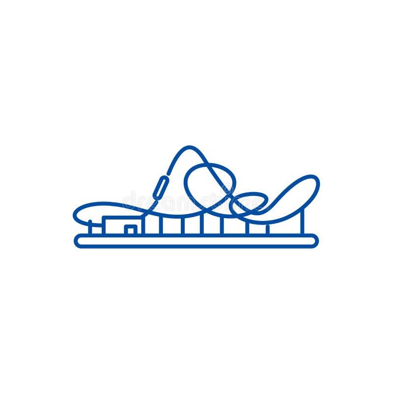 Línea concepto de la montaña rusa del icono Símbolo plano del vector de la montaña rusa, muestra, ejemplo del esquema stock de ilustración