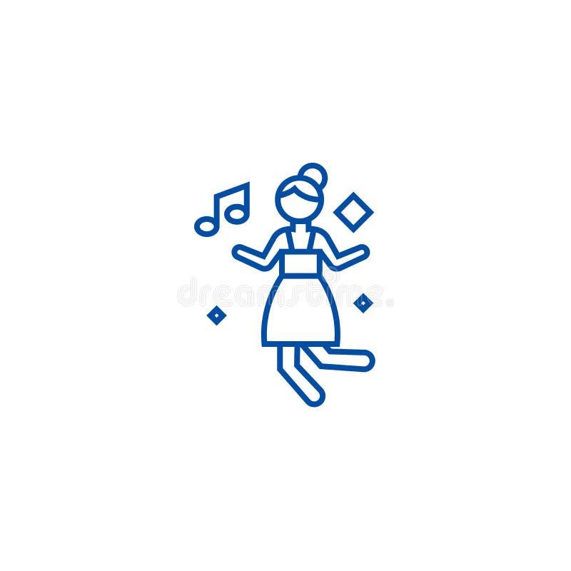 Línea concepto de la muchacha de baile del disco del icono Símbolo plano del vector de la muchacha de baile del disco, muestra, e libre illustration