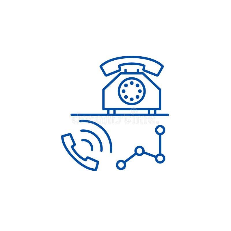 Línea concepto de la oficina del centro de atención telefónica del icono Símbolo plano del vector de la oficina del centro de ate stock de ilustración