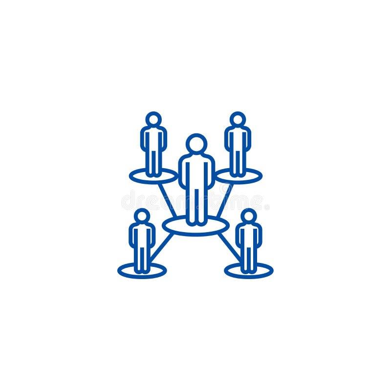 Línea concepto de la red de la gente del icono Símbolo plano del vector de la red de la gente, muestra, ejemplo del esquema libre illustration