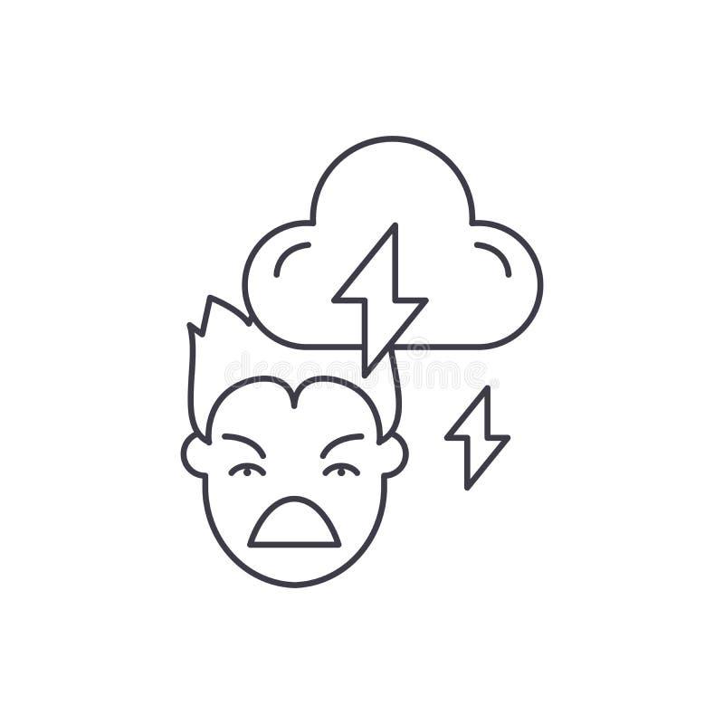 Línea concepto de la violencia del icono Ejemplo linear del vector de la violencia, símbolo, muestra stock de ilustración