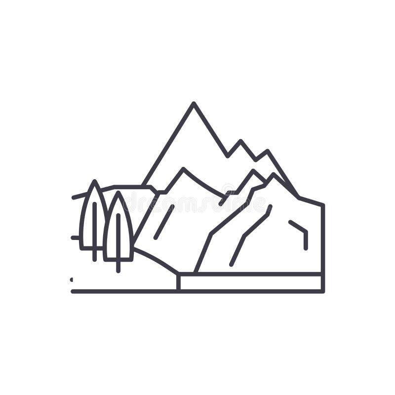 Línea concepto de las montañas del icono Ejemplo linear del vector de las montañas, muestra, símbolo ilustración del vector