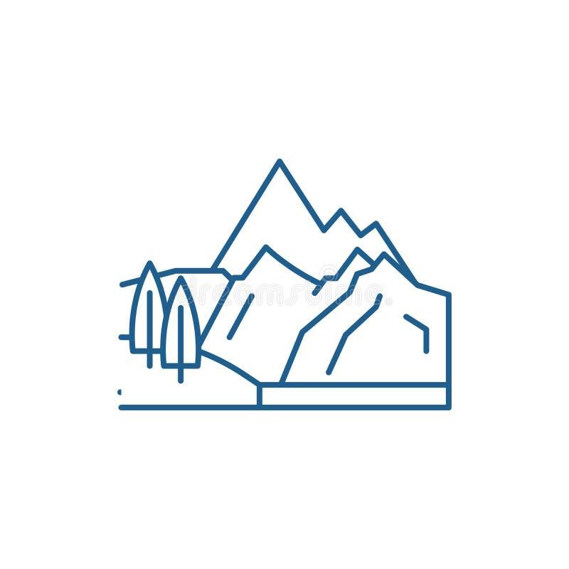 Línea concepto de las montañas del icono Símbolo plano del vector de las montañas, muestra, ejemplo del esquema ilustración del vector