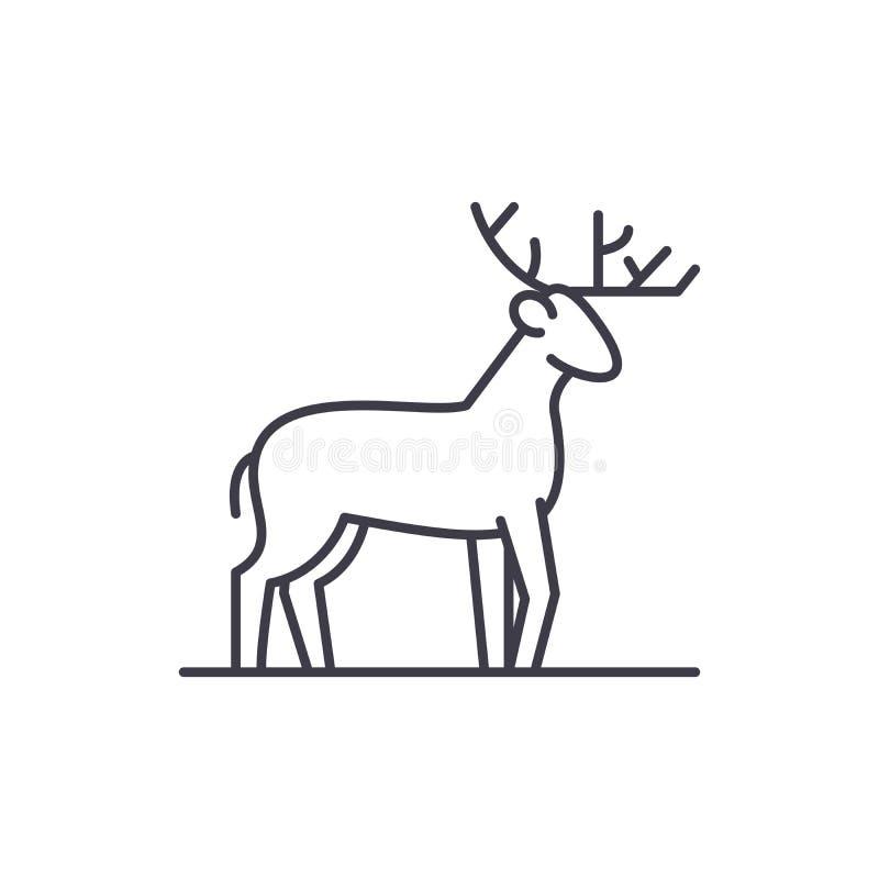 Línea concepto de los ciervos del bosque del icono Ejemplo linear del vector de los ciervos del bosque, símbolo, muestra stock de ilustración