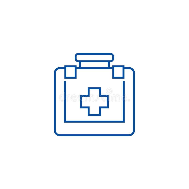 Línea concepto de los primeros auxilios del icono Símbolo plano del vector de los primeros auxilios, muestra, ejemplo del esquema ilustración del vector