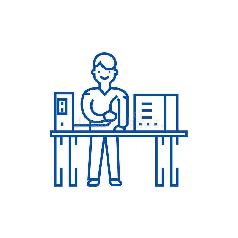 Línea concepto del administrador de sistema del icono Símbolo plano del vector del administrador de sistema, muestra, ejemplo del libre illustration
