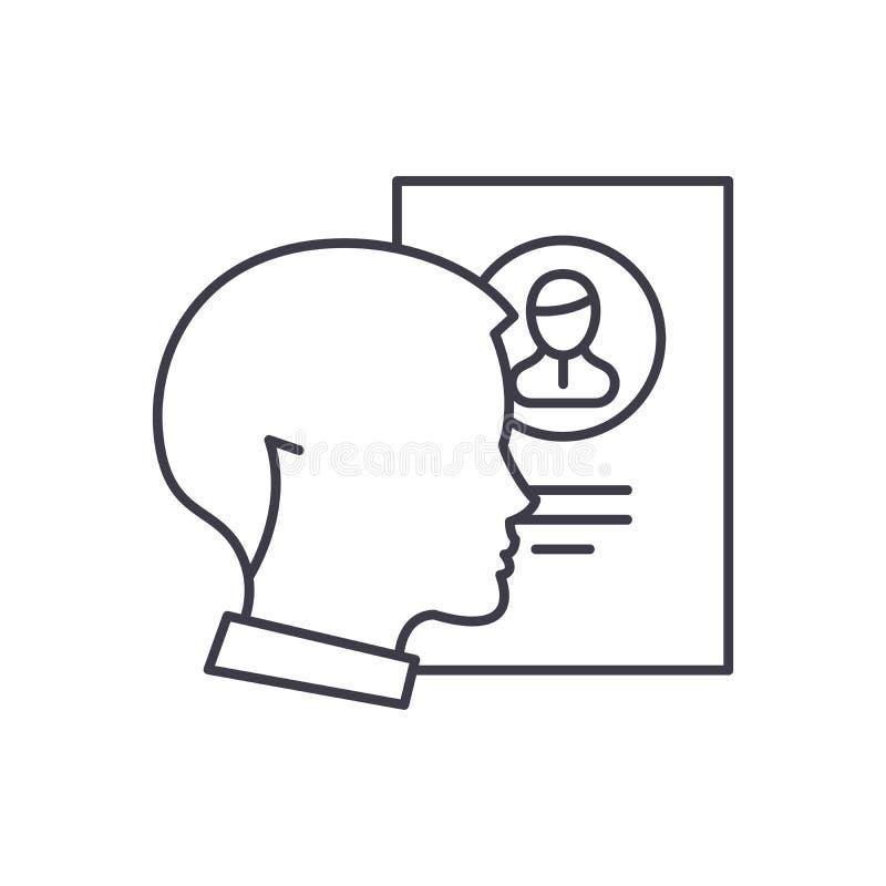 Línea concepto del análisis del personal del icono Ejemplo linear del vector del análisis del personal, símbolo, muestra ilustración del vector