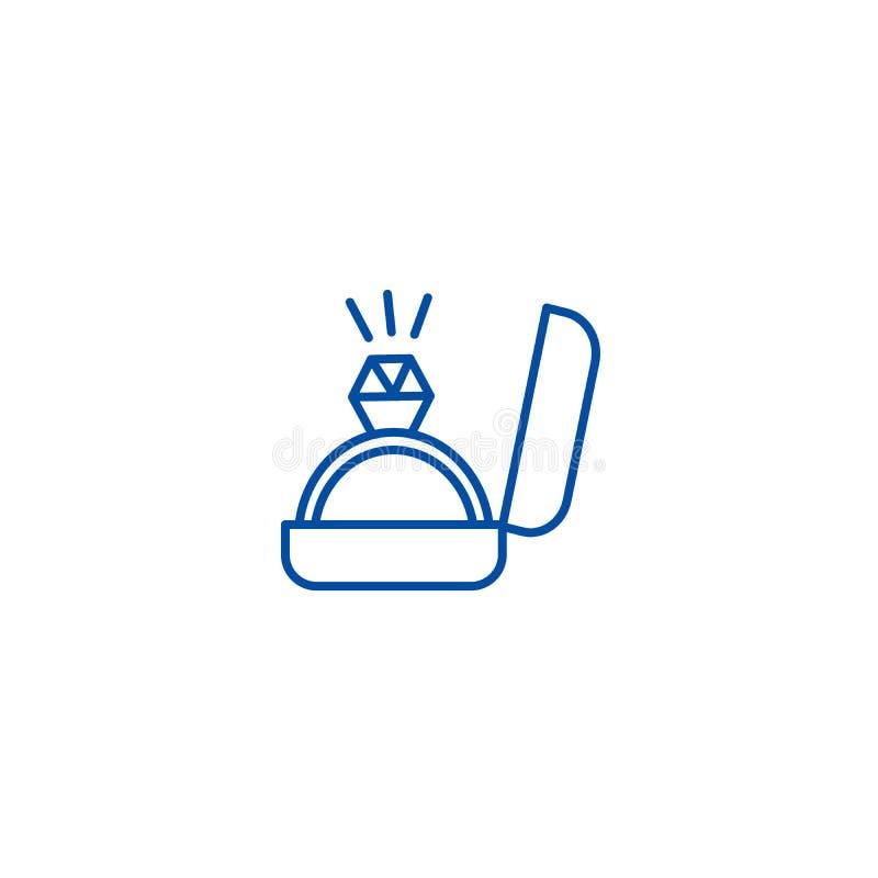 Línea concepto del anillo de compromiso del icono Símbolo plano del vector del anillo de compromiso, muestra, ejemplo del esquema stock de ilustración