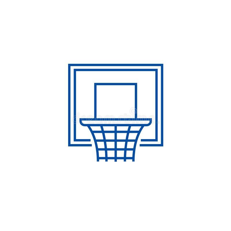 Línea concepto del aro de baloncesto del icono Símbolo plano del vector del aro de baloncesto, muestra, ejemplo del esquema ilustración del vector