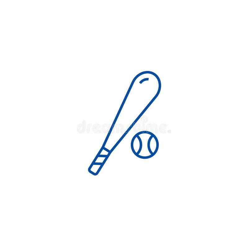 Línea concepto del béisbol del icono Símbolo plano del vector del béisbol, muestra, ejemplo del esquema stock de ilustración
