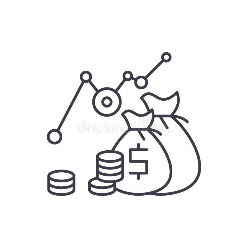 Línea concepto del beneficio de la inversión del icono Ejemplo linear del vector del beneficio de la inversión, símbolo, muestra libre illustration