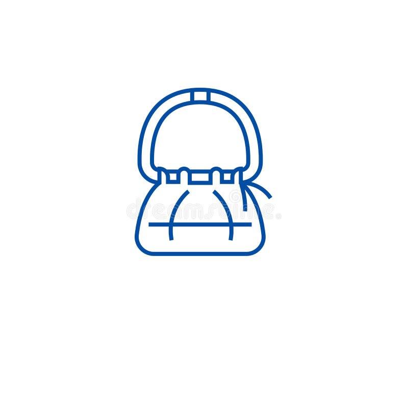 Línea concepto del bolso del icono Símbolo plano del vector del bolso, muestra, ejemplo del esquema stock de ilustración