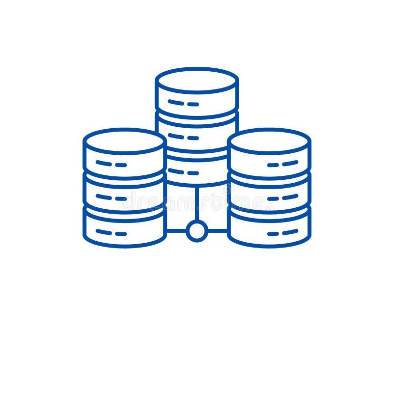 Línea concepto del centro de datos del icono Símbolo plano del vector del centro de datos, muestra, ejemplo del esquema stock de ilustración
