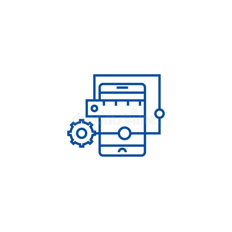 Línea concepto del desarrollo de aplicación móvil del icono Símbolo plano del vector del desarrollo de aplicación móvil, muestra, libre illustration