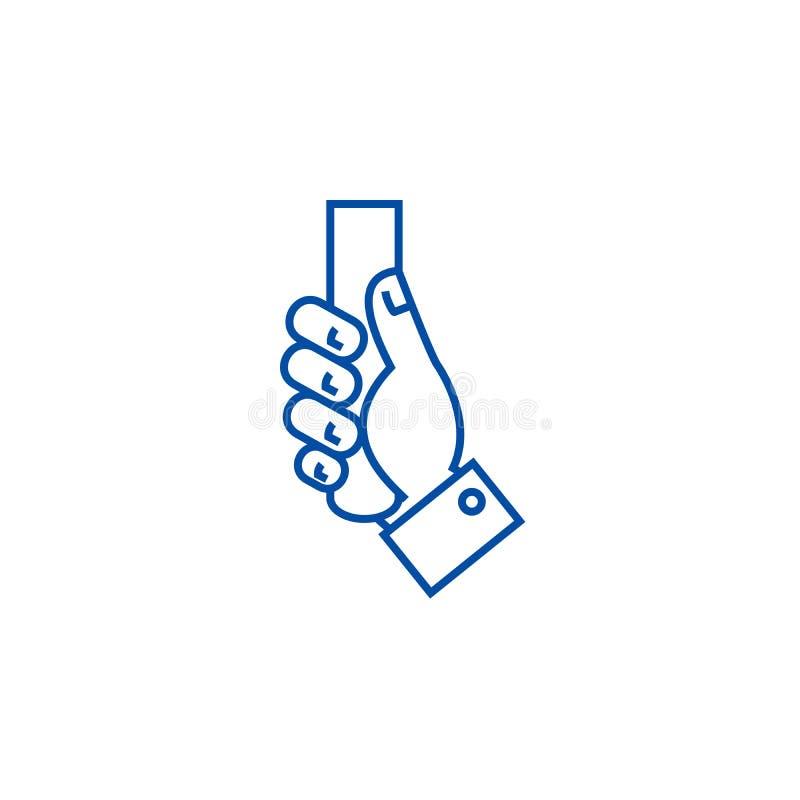 Línea concepto del ejemplo de la tenencia de la mano del icono Símbolo plano del vector del ejemplo de la tenencia de la mano, mu ilustración del vector