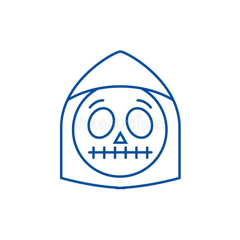 Línea concepto del emoji de la muerte del icono Símbolo plano del vector del emoji de la muerte, muestra, ejemplo del esquema libre illustration