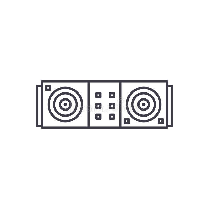 Línea concepto del escritorio de DJ del icono Ejemplo linear del vector del escritorio de DJ, símbolo, muestra libre illustration